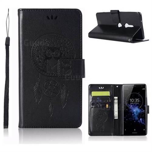 Intricate Embossing Owl Campanula Leather Wallet Case for Sony Xperia XZ2 - Black