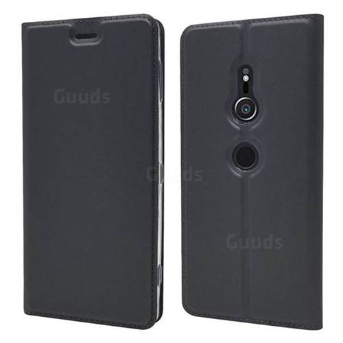 Ultra Slim Card Magnetic Automatic Suction Leather Wallet Case for Sony Xperia XZ2 - Star Grey