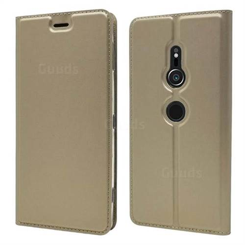 Ultra Slim Card Magnetic Automatic Suction Leather Wallet Case for Sony Xperia XZ2 - Champagne