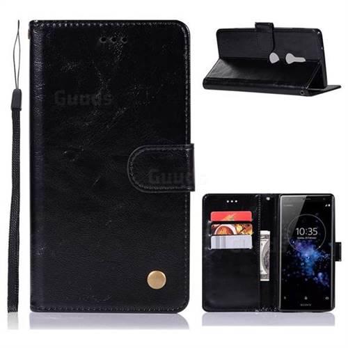 Luxury Retro Leather Wallet Case for Sony Xperia XZ2 - Black
