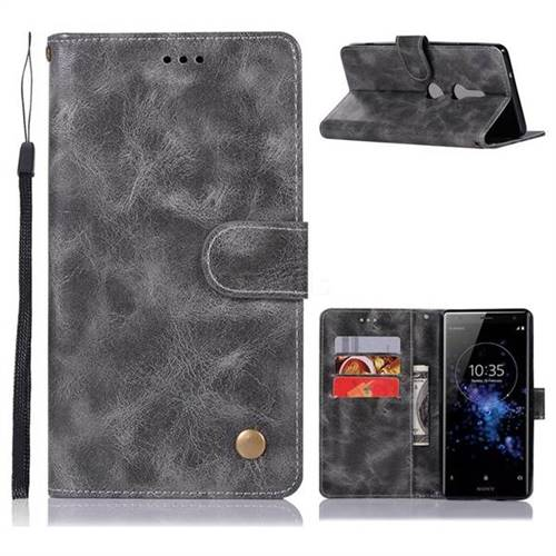 Luxury Retro Leather Wallet Case for Sony Xperia XZ2 - Gray
