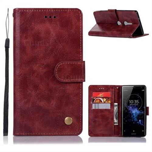 Luxury Retro Leather Wallet Case for Sony Xperia XZ2 - Wine Red