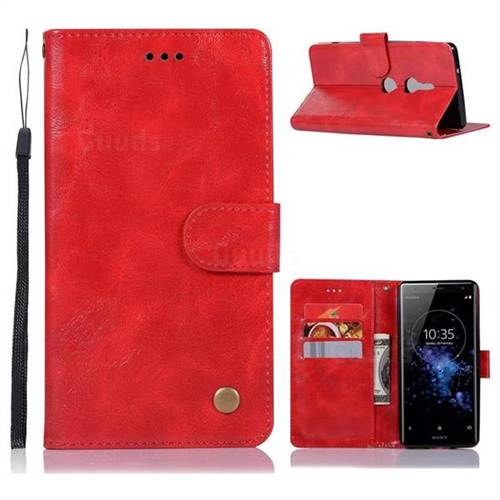 Luxury Retro Leather Wallet Case for Sony Xperia XZ2 - Red