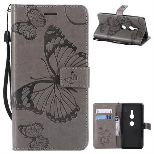 Embossing 3D Butterfly Leather Wallet Case for Sony Xperia XZ2 - Gray