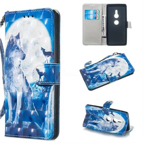 Ice Wolf 3D Painted Leather Wallet Phone Case for Sony Xperia XZ2