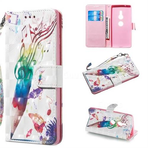 Music Pen 3D Painted Leather Wallet Phone Case for Sony Xperia XZ2