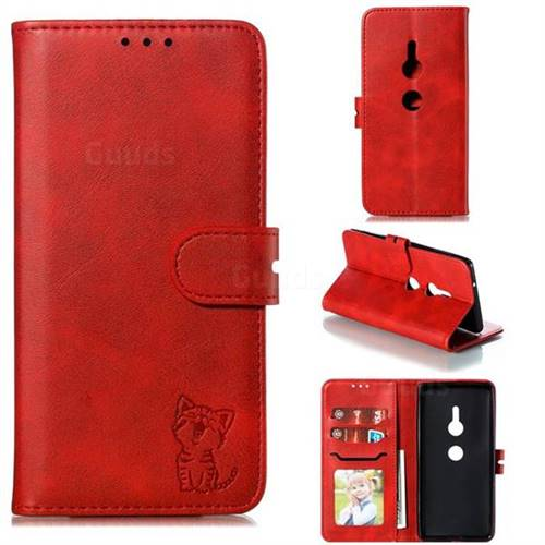 Embossing Happy Cat Leather Wallet Case for Sony Xperia XZ2 - Red