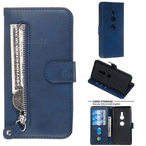 Retro Luxury Zipper Leather Phone Wallet Case for Sony Xperia XZ2 - Blue