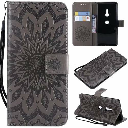 Embossing Sunflower Leather Wallet Case for Sony Xperia XZ2 - Gray