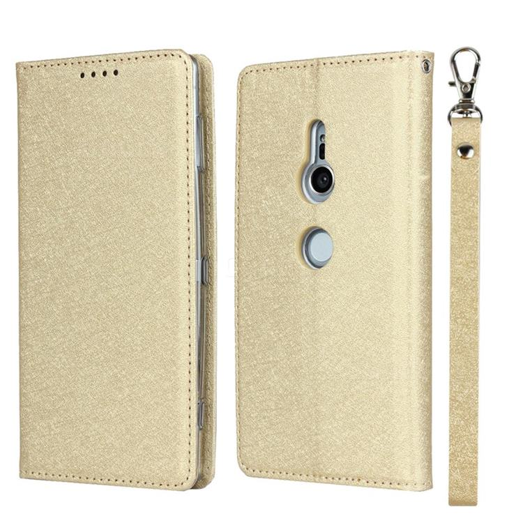 Ultra Slim Magnetic Automatic Suction Silk Lanyard Leather Flip Cover for Sony Xperia XZ2 - Golden