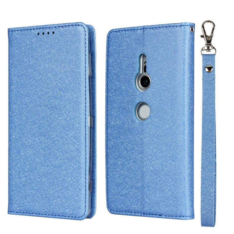 Ultra Slim Magnetic Automatic Suction Silk Lanyard Leather Flip Cover for Sony Xperia XZ2 - Sky Blue