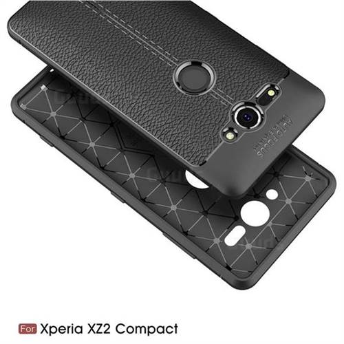 Luxury Auto Focus Litchi Texture Silicone TPU Back Cover for Sony Xperia  XZ2 Compact - Black