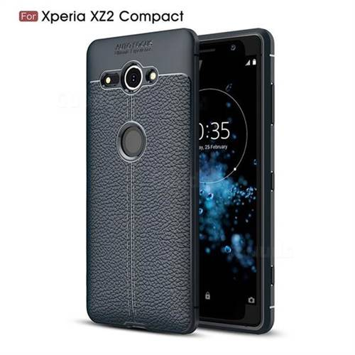 Luxury Auto Focus Litchi Texture Silicone TPU Back Cover for Sony Xperia XZ2 Compact - Dark Blue