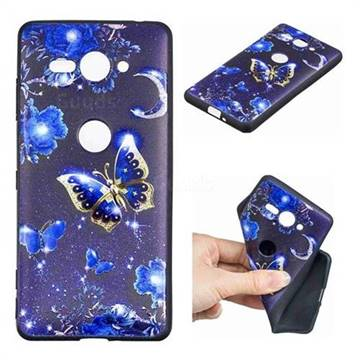 Phnom Penh Butterfly 3D Embossed Relief Black TPU Cell Phone Back Cover for Sony Xperia XZ2 Compact