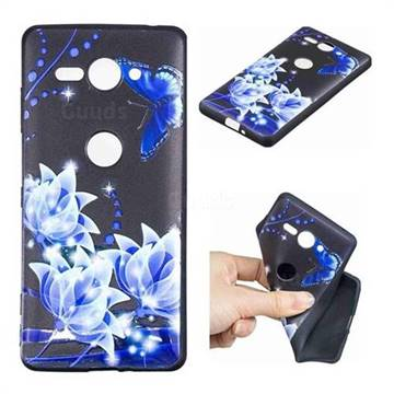 Blue Butterfly 3D Embossed Relief Black TPU Cell Phone Back Cover for Sony Xperia XZ2 Compact