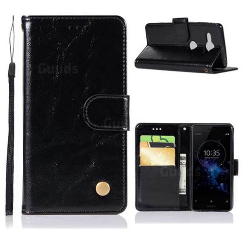 Luxury Retro Leather Wallet Case for Sony Xperia XZ2 Compact - Black