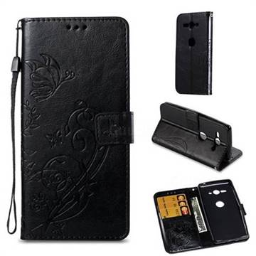 Embossing Butterfly Flower Leather Wallet Case for Sony Xperia XZ2 Compact - Black