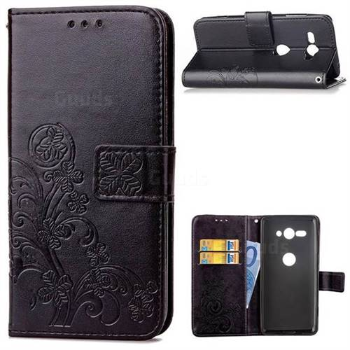 Embossing Imprint Four-Leaf Clover Leather Wallet Case for Sony Xperia XZ2 Compact - Black
