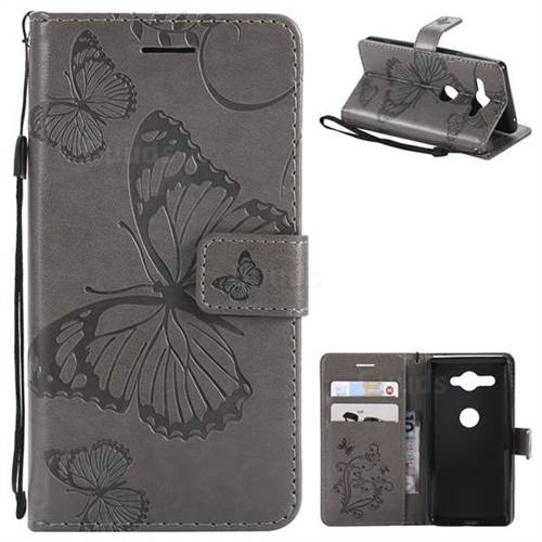 Embossing 3D Butterfly Leather Wallet Case for Sony Xperia XZ2 Compact - Gray