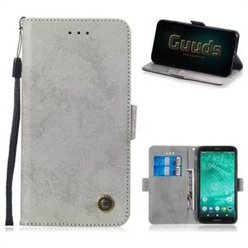 Retro Classic Leather Phone Wallet Case Cover for Sony Xperia XZ2 Compact -  Gray