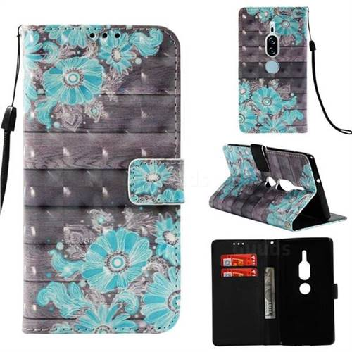 Blue Flower 3D Painted Leather Wallet Case for Sony Xperia XZ2 Premium