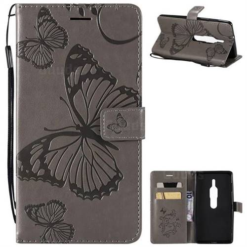 Embossing 3D Butterfly Leather Wallet Case for Sony Xperia XZ2 Premium - Gray