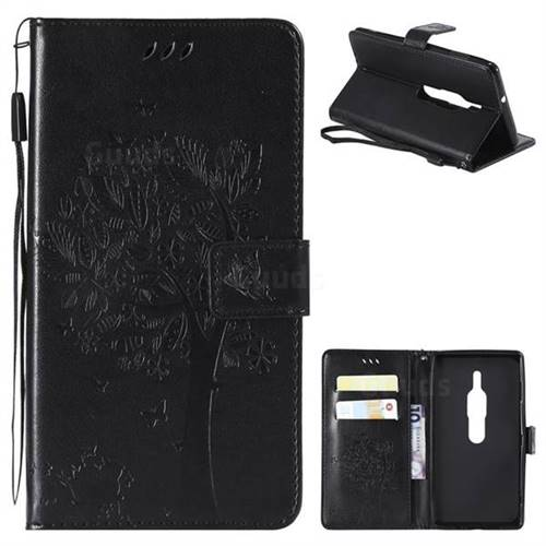 Embossing Butterfly Tree Leather Wallet Case for Sony Xperia XZ2 Premium - Black