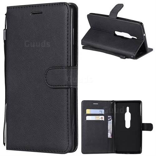 Retro Greek Classic Smooth PU Leather Wallet Phone Case for Sony Xperia XZ2 Premium - Black