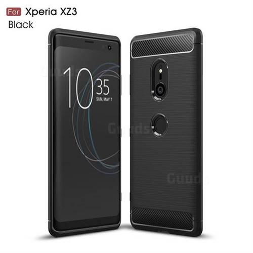 Luxury Carbon Fiber Brushed Wire Drawing Silicone TPU Back Cover for Sony Xperia XZ3 - Black