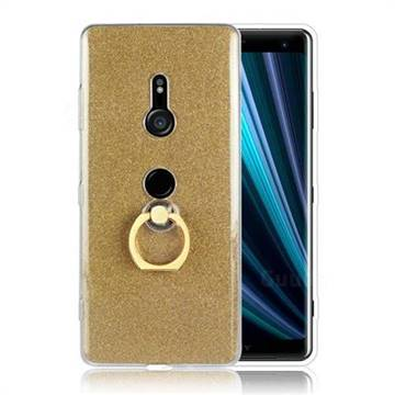 Luxury Soft TPU Glitter Back Ring Cover with 360 Rotate Finger Holder Buckle for Sony Xperia XZ3 - Golden