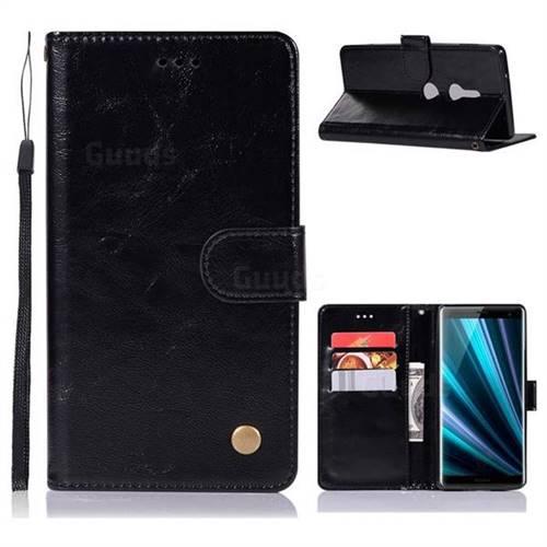 Luxury Retro Leather Wallet Case for Sony Xperia XZ3 - Black