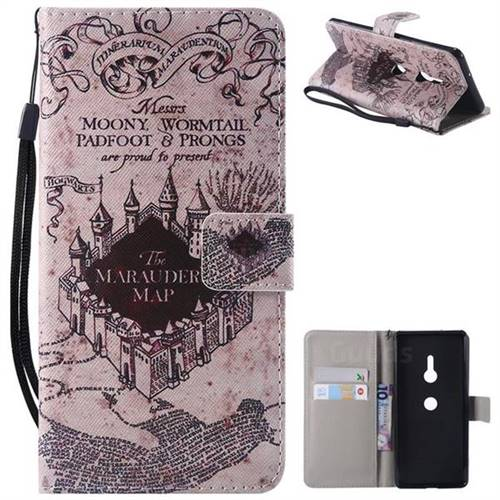 Castle The Marauders Map PU Leather Wallet Case for Sony Xperia XZ3
