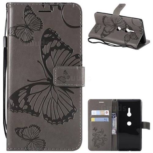 Embossing 3D Butterfly Leather Wallet Case for Sony Xperia XZ3 - Gray