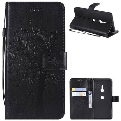 Embossing Butterfly Tree Leather Wallet Case for Sony Xperia XZ3 - Black