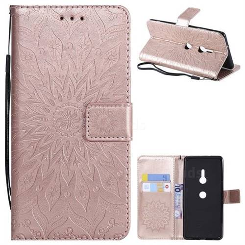 Embossing Sunflower Leather Wallet Case for Sony Xperia XZ3 - Rose Gold