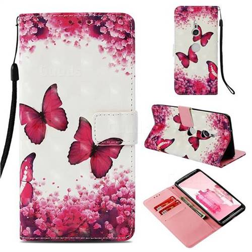 Rose Butterfly 3D Painted Leather Wallet Case for Sony Xperia XZ3