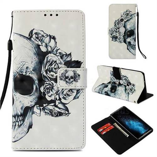 Skull Flower 3D Painted Leather Wallet Case for Sony Xperia XZ3