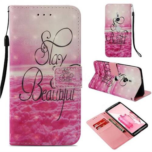 Beautiful 3D Painted Leather Wallet Case for Sony Xperia XZ3