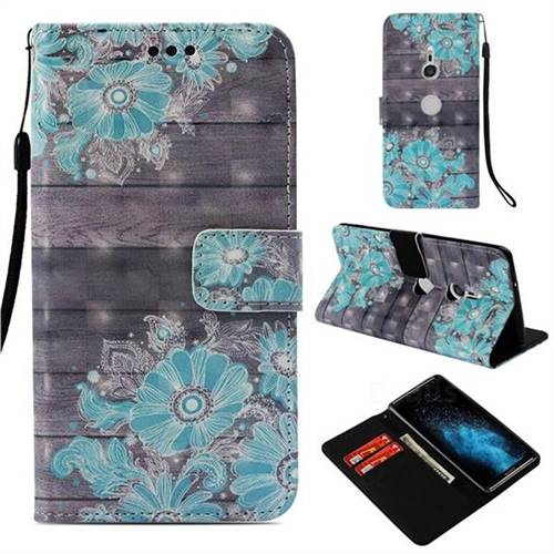 Blue Flower 3D Painted Leather Wallet Case for Sony Xperia XZ3
