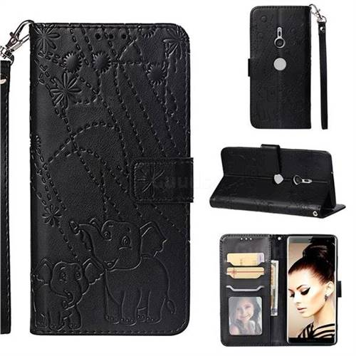 Embossing Fireworks Elephant Leather Wallet Case for Sony Xperia XZ3 - Black