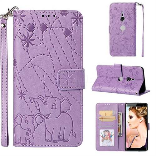 Embossing Fireworks Elephant Leather Wallet Case for Sony Xperia XZ3 - Purple