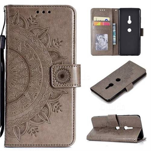 Intricate Embossing Datura Leather Wallet Case for Sony Xperia XZ3 - Gray