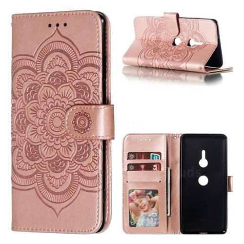 Intricate Embossing Datura Solar Leather Wallet Case for Sony Xperia XZ3 - Rose Gold