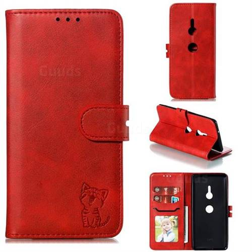 Embossing Happy Cat Leather Wallet Case for Sony Xperia XZ3 - Red