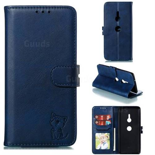Embossing Happy Cat Leather Wallet Case for Sony Xperia XZ3 - Blue