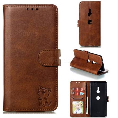 Embossing Happy Cat Leather Wallet Case for Sony Xperia XZ3 - Brown