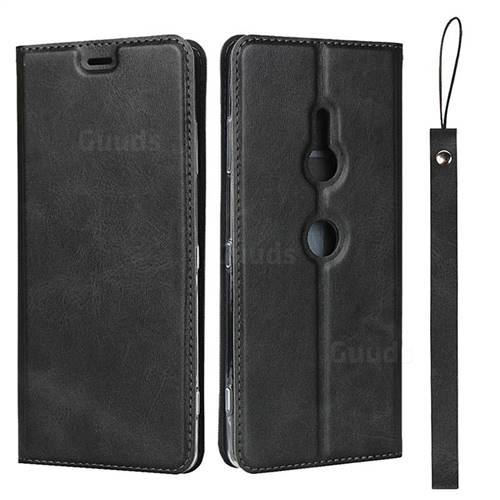 Calf Pattern Magnetic Automatic Suction Leather Wallet Case for Sony Xperia XZ3 - Black