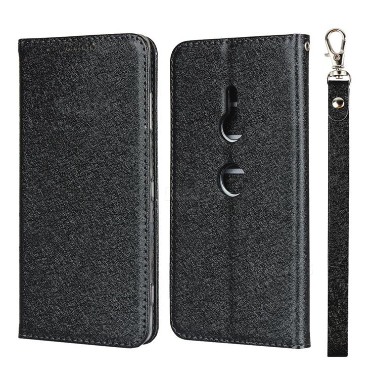 Ultra Slim Magnetic Automatic Suction Silk Lanyard Leather Flip Cover for Sony Xperia XZ3 - Black