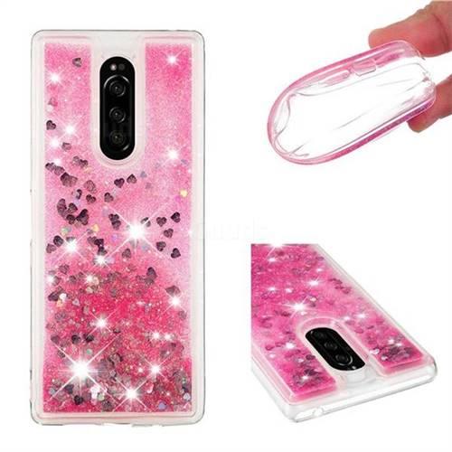 Dynamic Liquid Glitter Quicksand Sequins TPU Phone Case for Sony Xperia 1 / Xperia XZ4 - Rose