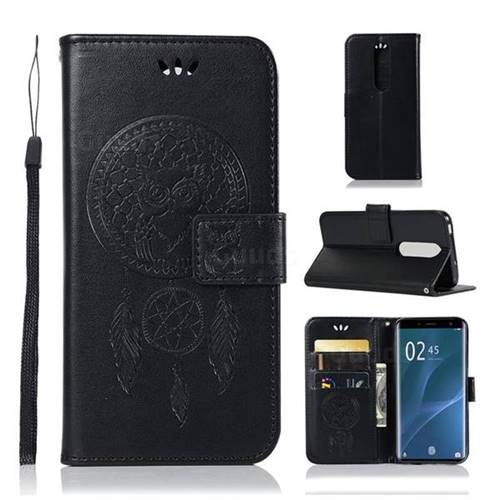 Intricate Embossing Owl Campanula Leather Wallet Case for Sony Xperia 1 / Xperia XZ4 - Black